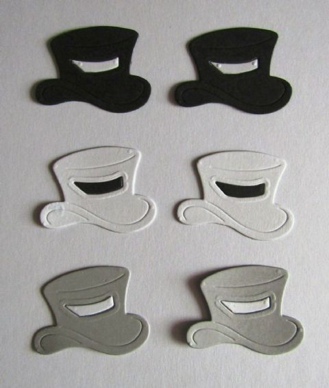 6 X DIE CUT TOP HATS IDEAL FOR WEDDINGS GAY WEDDINGS CIVIL PARTNERSHIPS GROOMS
